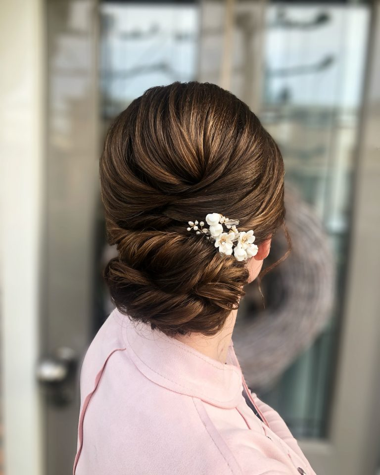 Soft updo on thin hair